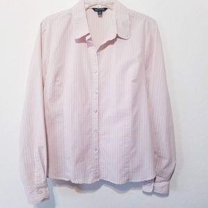 George Pink Pinstriped Career Long Sleeve Blouse